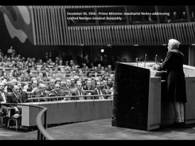 India PM Nehru addressing United Nations General Assembly